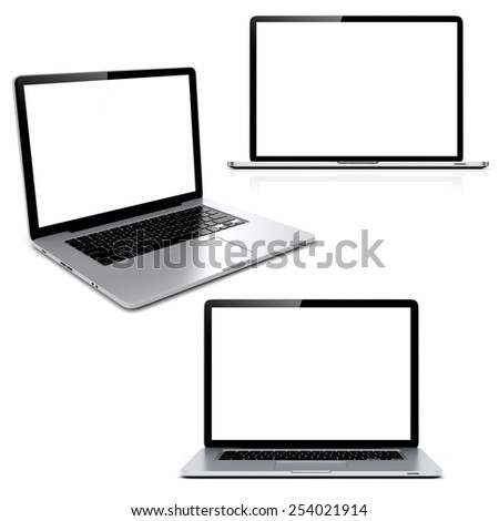 3d laptop with blank screen on white background - stock photo