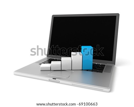 3d laptop with graph