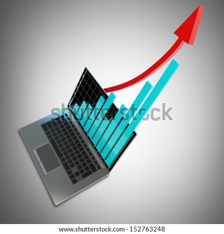 3d laptop with graph and red arrow. High resolution