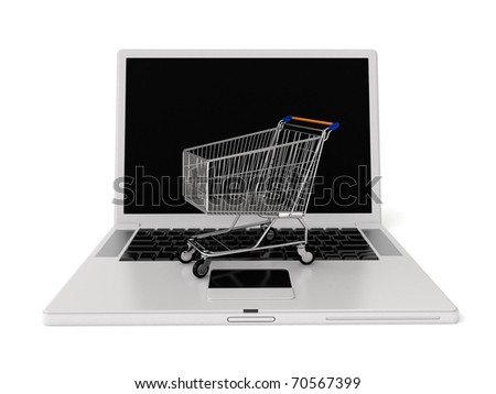 3d laptop with shopping cart