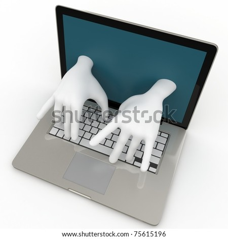 3d laptop with writing hands isolated on white - stock photo
