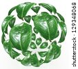 3D leaf eco sphere - stock photo
