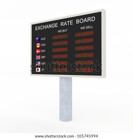 3d LED exchange rate board with common currency information. - stock photo