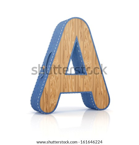 3d letter A from scrapbook alphabet collection isolated on white - stock photo