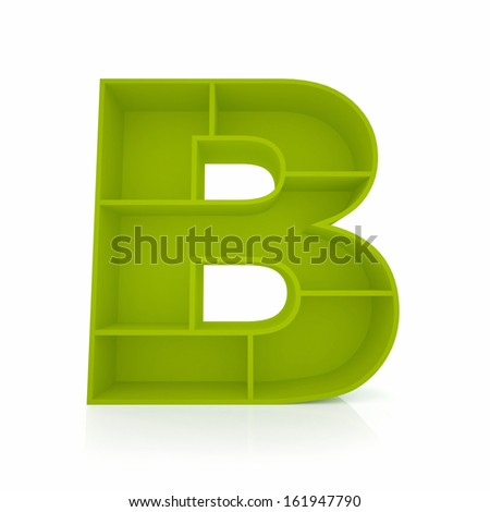 3d letter B from furniture alphabet collection isolated on white