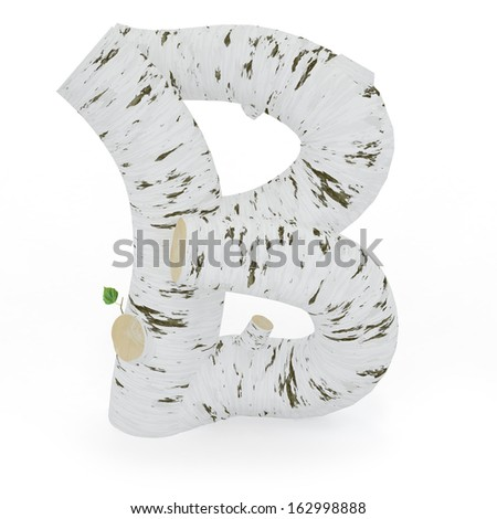 3D letter B from wooden birch collection isolated on white - stock photo