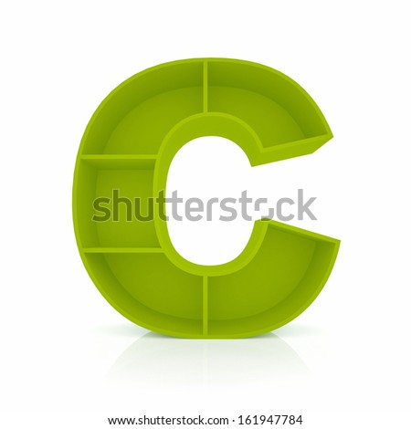 3d letter C from furniture alphabet collection isolated on white - stock photo