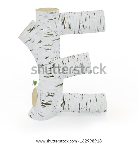 3D letter E from wooden birch collection isolated on white - stock photo