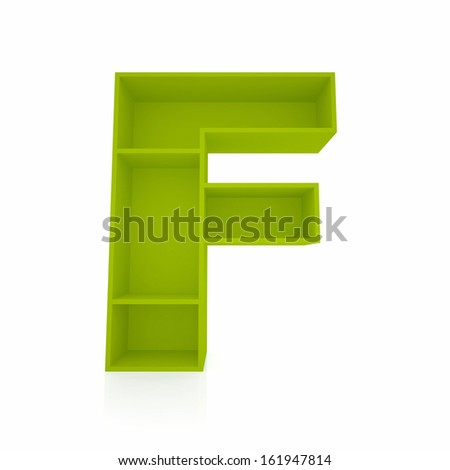 3d letter F from furniture alphabet collection isolated on white - stock photo