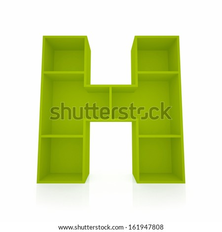 3d letter H from furniture alphabet collection isolated on white - stock photo