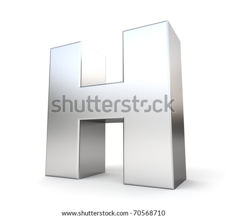 3d letter H from my metal letter collection - stock photo
