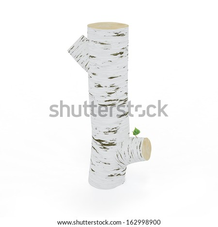 3D letter I from wooden birch collection isolated on white - stock photo