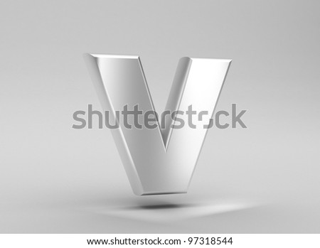 3d letter iron render on grey background