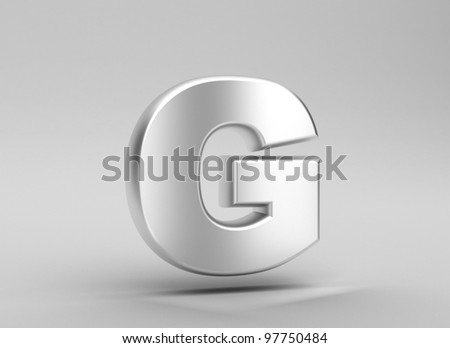 3d letter iron render on grey background - stock photo