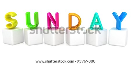 "3d letter is colorful with white cubes ""Sunday"" - stock photo"