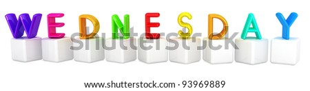 "3d letter is colorful with white cubes ""Wednesday"""