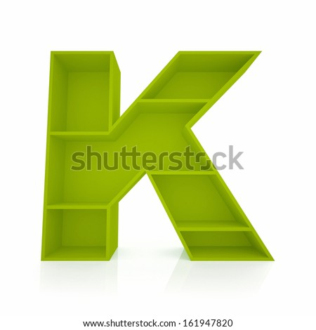 3d letter K from furniture alphabet collection isolated on white - stock photo