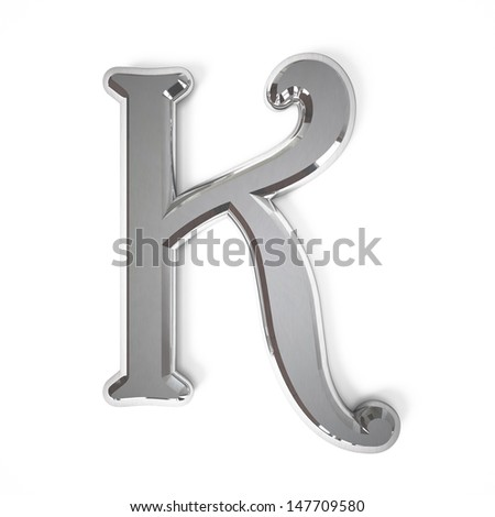 3d letter K whit metal surface isolated on a white background - stock photo