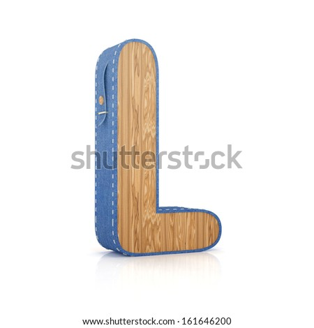 3d letter L from scrapbook alphabet collection isolated on white - stock photo