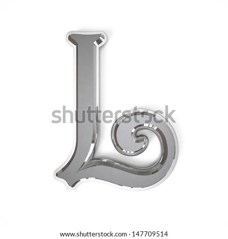 3d letter L whit metal surface isolated on a white background - stock photo