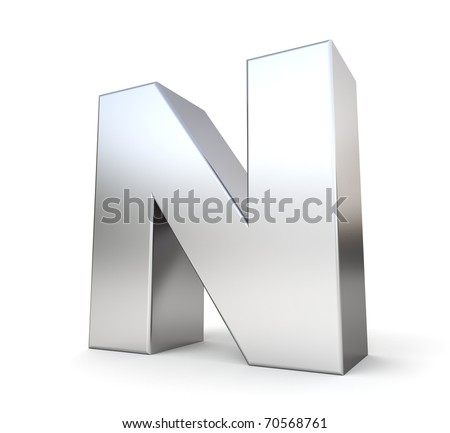3d letter N from my metal letter collection - stock photo