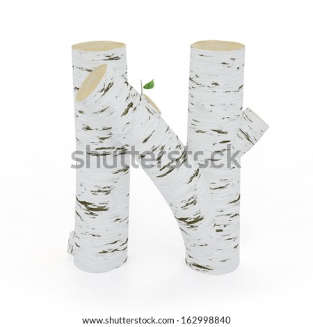 3D letter N from wooden birch collection isolated on white - stock photo