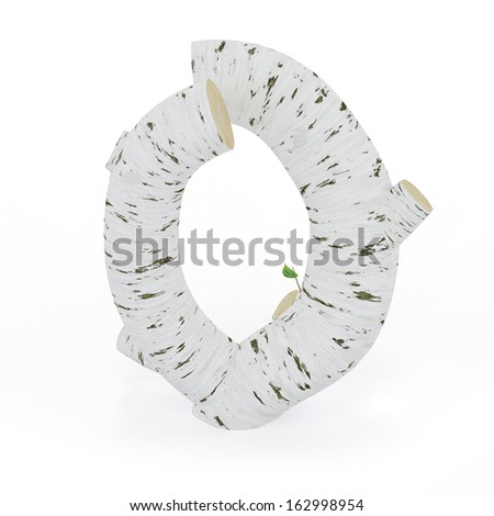 3D letter O from wooden birch collection isolated on white - stock photo