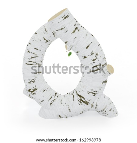 3D letter Q from wooden birch collection isolated on white - stock photo