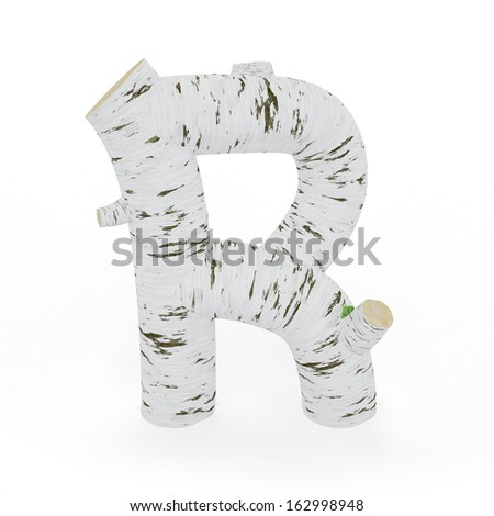 3D letter R from wooden birch collection isolated on white - stock photo