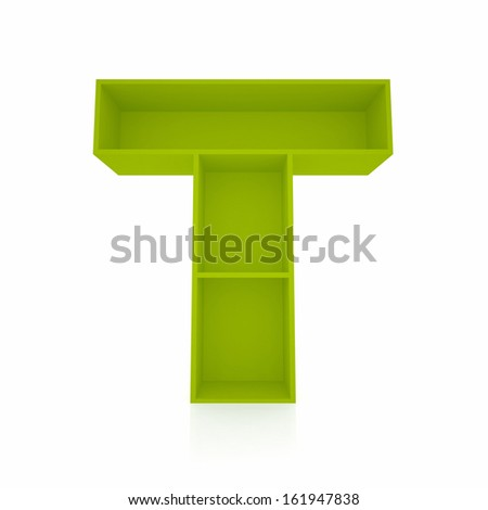3d letter T from furniture alphabet collection isolated on white - stock photo