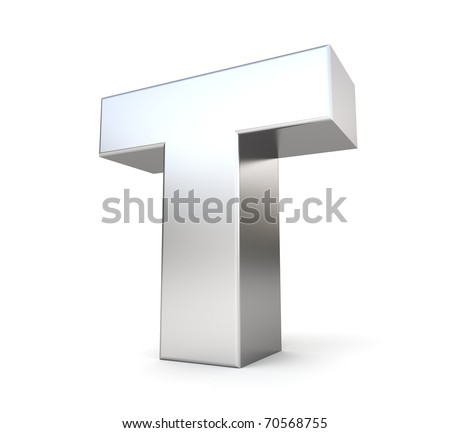 3d letter T from my metal letter collection - stock photo