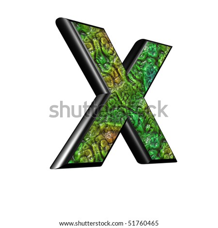 3d letter with alien skin texture - X