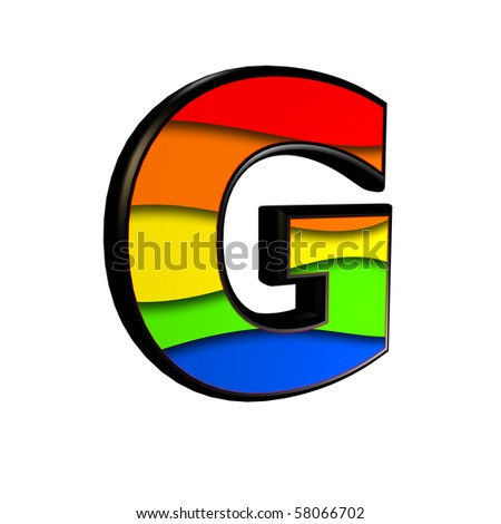 3d letter with rainbow texture - G - stock photo