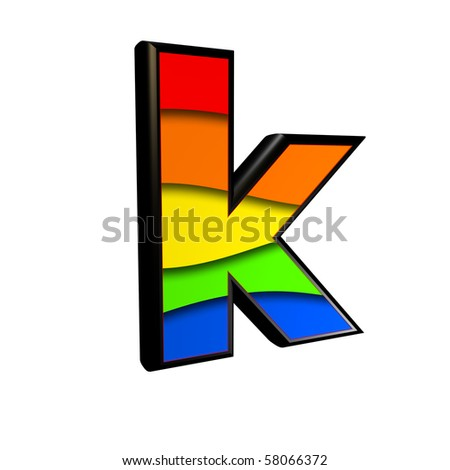3d letter with rainbow texture - K - stock photo
