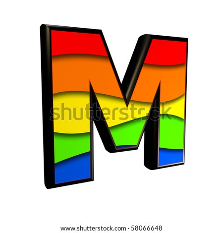 3d letter with rainbow texture - M