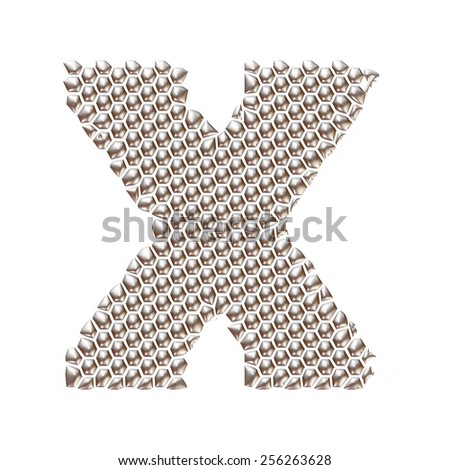 3D letter X dots pattern in silver on isolated white - stock photo