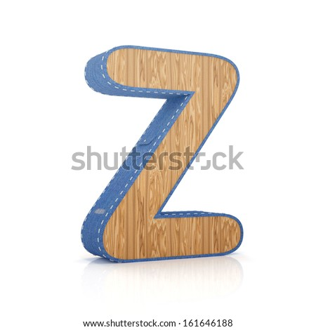 3d letter Z from scrapbook alphabet collection isolated on white - stock photo