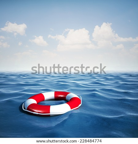 3d life buoy and blue ocean with blue sky background - stock photo