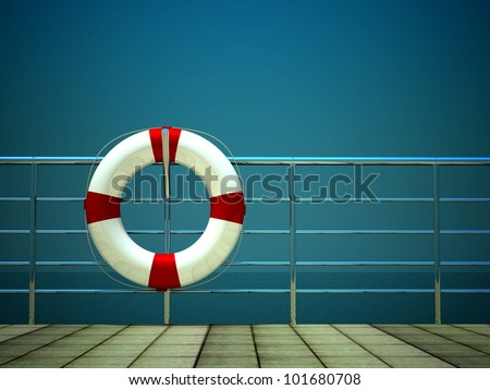 3d life ring and on safety barriers at the sea - stock photo