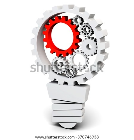 3d light bulb with gears and cogs working together on white background