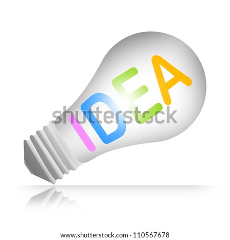 3d Light Bulb With Idea Text for Idea Concept Isolated on White Background - stock photo