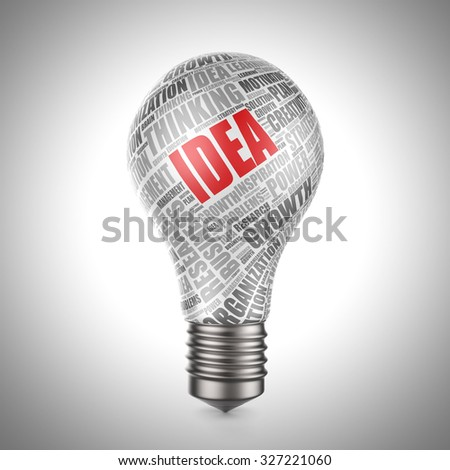 3d light bulb with word cloud - idea concept - stock photo