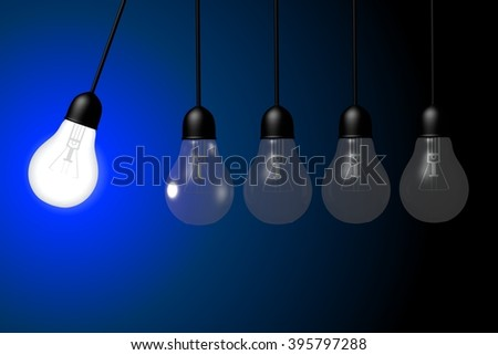 Six Light Bulbs On Navy Background Stock Vector 430396474