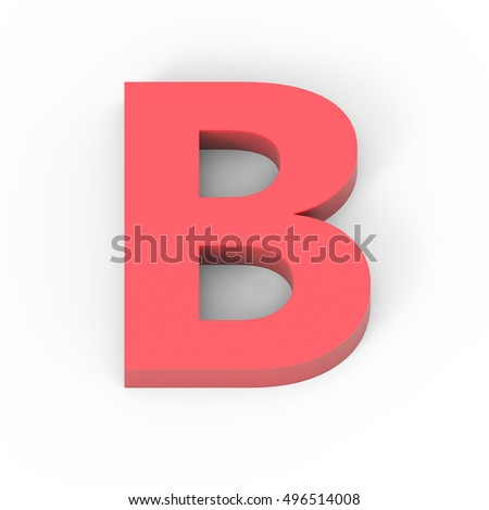 3d Light matte red font B, 3D rendering graphic isolated white background