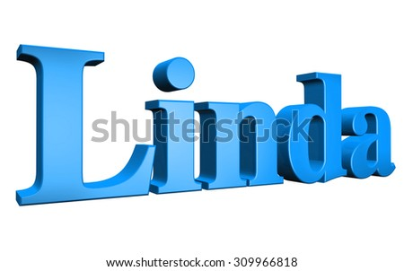3D Linda text on white background