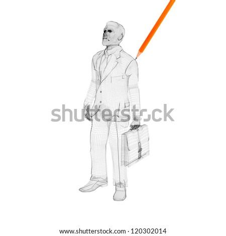 3d linear business man - stock photo