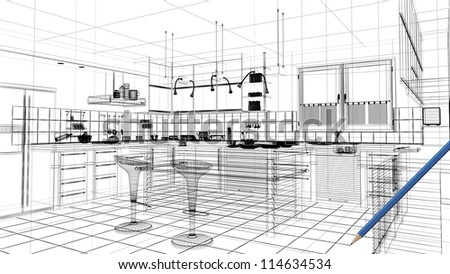 3d linear kitchen interior - stock photo