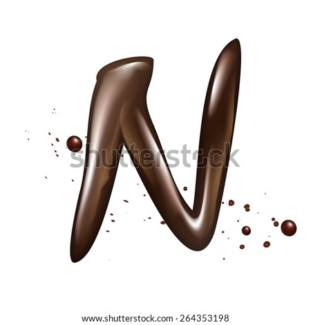 3d liquid chocolate letter N isolated on white background - stock photo