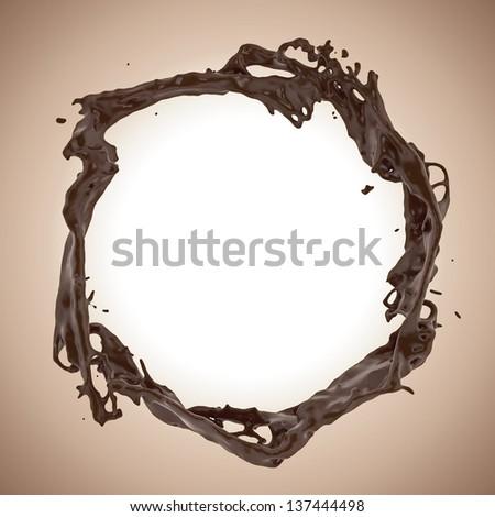 3d liquid melting chocolate splash round frame border - stock photo