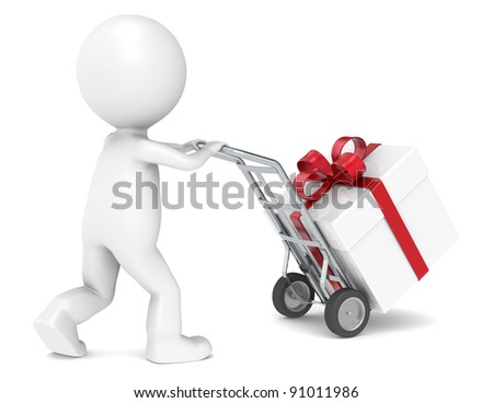 3D little human character delivering a Gift Box. People series. - stock photo